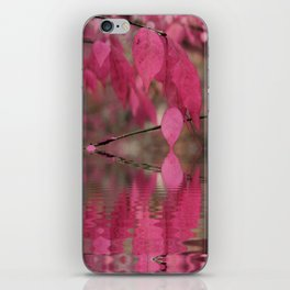 Red Autumn Leaf Reflections iPhone Skin