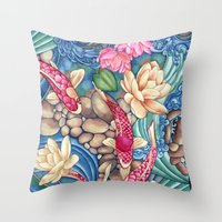 koi Throw Pillows featuring Koi Pond by Vikki Salmela