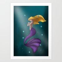 purple mermaid Art Print