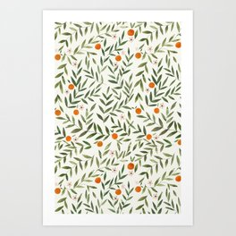 Oranges Foliage Art Print