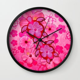 Pink Hibiscus And Honu Turtles Wall Clock