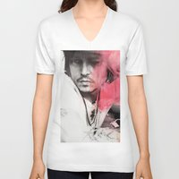 johnny depp V-neck T-shirts featuring Johnny Depp Artwork by E. Staugaard