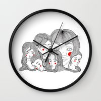 talking heads Wall Clocks featuring Heads by meau