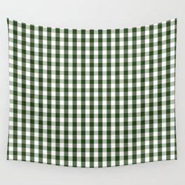 Dark Forest Green and White Gingham Check Wall Tapestry