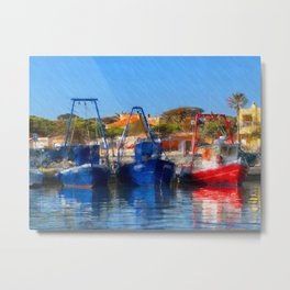 Fisher Boats at Harbor Metal Print