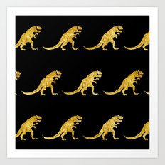 Golden T.Rex Pattern Art Print