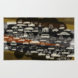 automobiles in a jam Rug