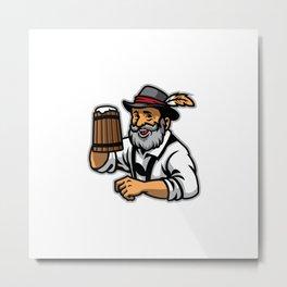 Old Man Wearing Traditional German Clothing Hold Beer Metal Print
