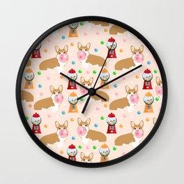 Corgi welsh corgis gumball bubblegum cute dog breed corgis pet gifts Wall Clock
