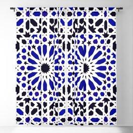(N8) Epic Original Blue Moroccan Geometric Artwork. Blackout Curtain