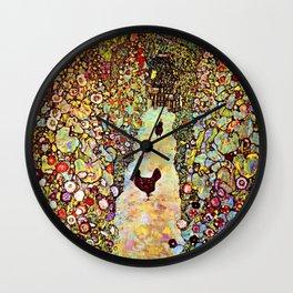 Gustav Klimt Garden with Roosters Wall Clock
