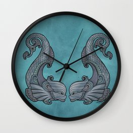 Dive Deep - Silver Dolphins Wall Clock