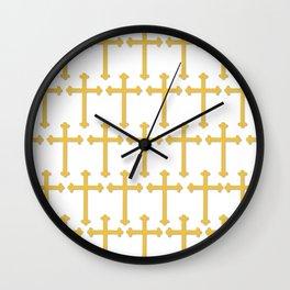 Golden Cross Pattern Wall Clock