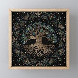 Tree of life -Yggdrasil Golden and Marble ornament Framed Mini Art Print