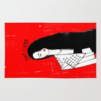 leather Area & Throw Rugs featuring 'LADY LEATHER' by Dom&Ink