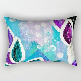 Abstract Flower Painting. Acrylic Painting. Purple. Teal. Blue. Circles Rectangular Pillow