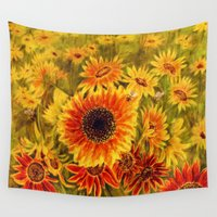 sunflowers Wall Tapestries featuring SUNFLOWERS by Vargamari