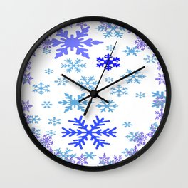 BLUE & PURPLE WINTER SNOWFLAKES ART ABSTRACT Wall Clock
