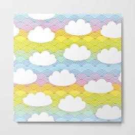 Kawaii white clouds and rainbow sky Metal Print