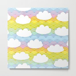Kawaii white clouds and rainbow sky Metal Print