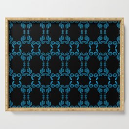 Hand drawn Seed Pods Bright Blue on Black Serving Tray