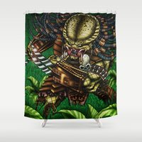 predator Shower Curtains featuring PREDATOR  by Bungle