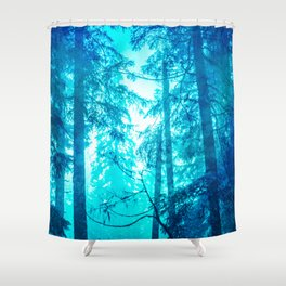 Blue Frost Woods Shower Curtain