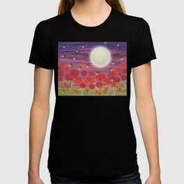purple sky, fireflies, snails, and poppies T-shirt