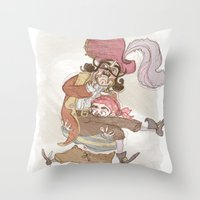 captain hook Throw Pillows featuring Captain Hook by Samantha Kay Davies