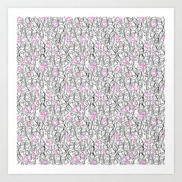 Elios Shirt Faces with Valentine Hearts in Black Outlines with Hot Pink Bordered Hearts Art Print