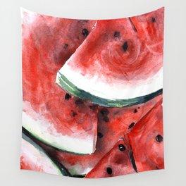 Juicy Watermelon in Watercolor- Food Art Wall Tapestry
