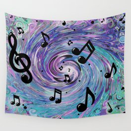Musical Notes in Blue Wall Tapestry
