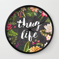 gold Wall Clocks featuring Thug Life by Text Guy