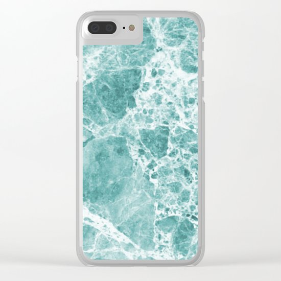 Tropical Sea Green Marble Clear iPhone Case
