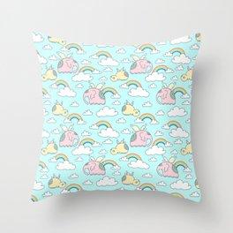 Elephants and hippos Throw Pillow
