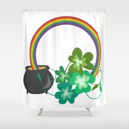 Irish Shamrocks and Gold at the end of the rainbow Shower Curtain