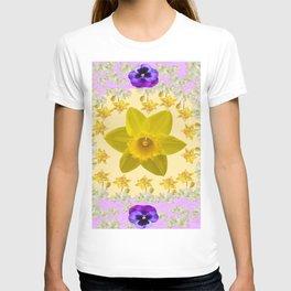 PURPLE PANSIES & DAFFODILS FLOWERS GARDEN MODERN ART T-shirt