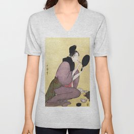 Vintage Japanese painting Unisex V-Neck