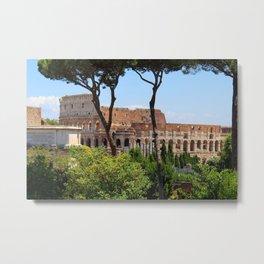 Roman Colosseum Through Trees Metal Print