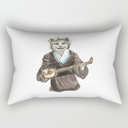 A Singing Cat Playing Samisen Rectangular Pillow