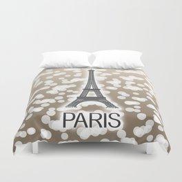 Paris: City of Light, Eiffel Tower (Beige) Duvet Cover