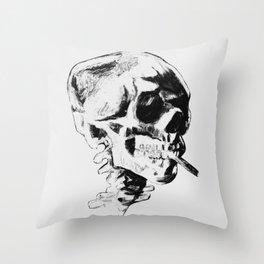 Skull Smoking A Cigarette Throw Pillow