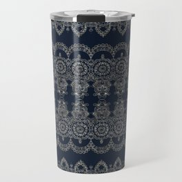 Silvery Striped Doodle Travel Mug