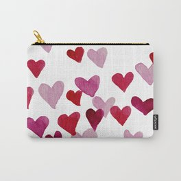 Valentine's Day Watercolor Hearts - pink Carry-All Pouch