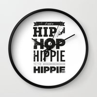 hip hop Wall Clocks featuring Hip Hop by Leeroy