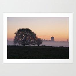 Fakenham Parish Church on a misty dawn morning at sunrise, Fakenham, Norfolk, UK Art Print