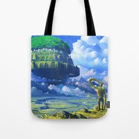castle in the sky Tote Bags featuring Castle in the sky by Roberto Nieto