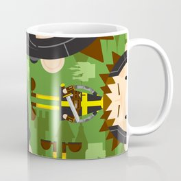 Cartoon Medieval Knight and Castle Pattern Coffee Mug