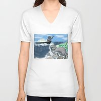 otters V-neck T-shirts featuring Otters Love by Gaby Kasan