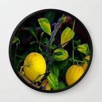 berserk Wall Clocks featuring Winter Lemons by oneofacard